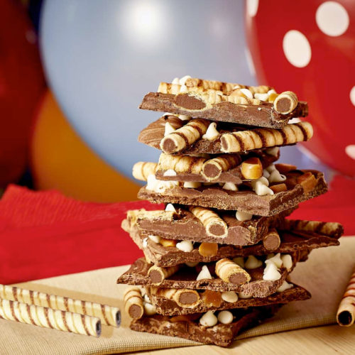 Chocolate Caramel Pirouline Cookie Bark