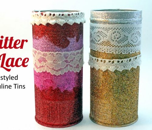 Glitter and Lace Valentines Pirouline Tins