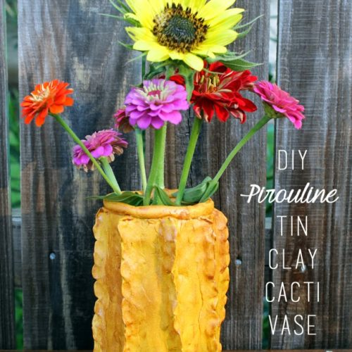 Clay Cacti Vase with Pirouline Tins