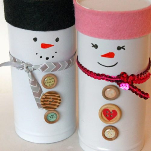 Recycled Pirouline Tin Mr and Mrs Snowmen