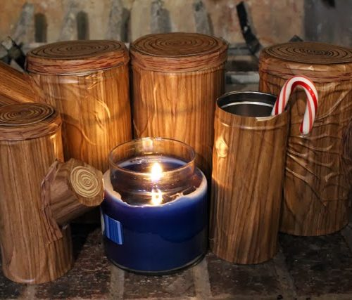 Restyled Pirouline Yule Log Tins