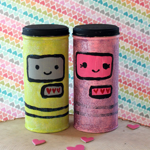 Valentine Robot Tins Using Recycled Pirouline Tins