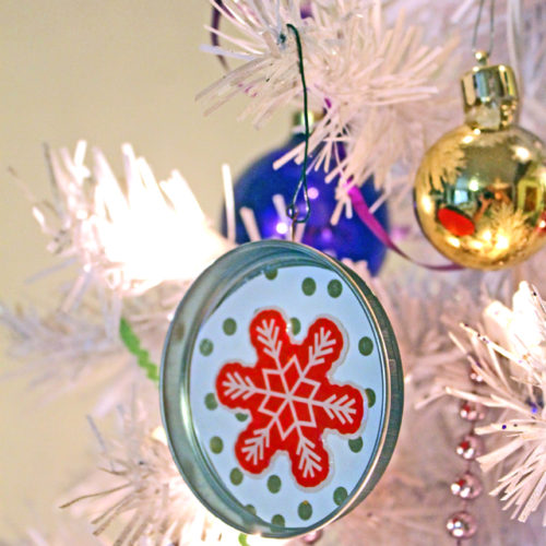 Pirouline Tin Lid Ornaments