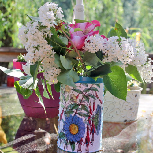 Pirouline Recycled Flower Vase Tin Cans