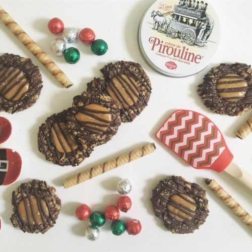 Pirouline Crunch Caramel Cocoa Thumbprint Cookies
