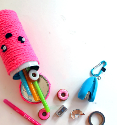 DIY Crocheted School Supply Tin