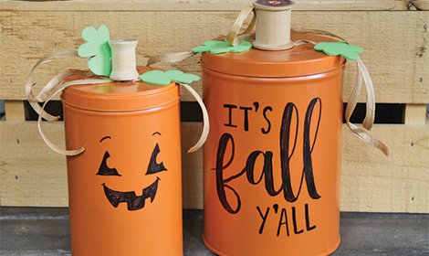 DIY Pumpkin Tins from Recycled Pirouline Cookie Tins