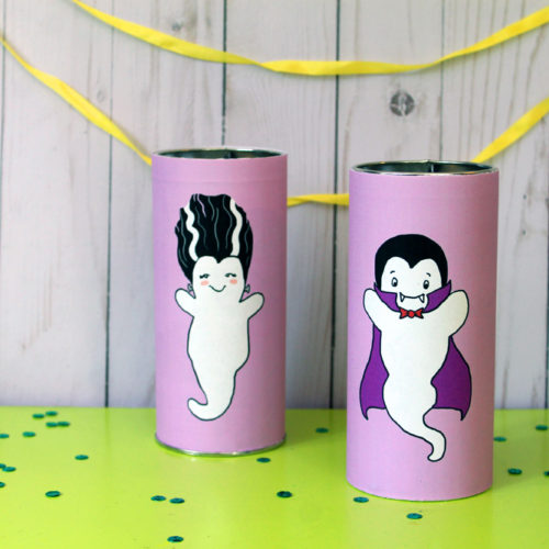 Printable Ghost Tins made with Pirouline Tins