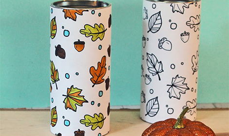 Printable Autumn Leaves Coloring Tins