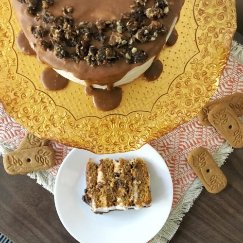 Pumpkin Piroucrisp Crumble Cake with Cinnamon Ganache